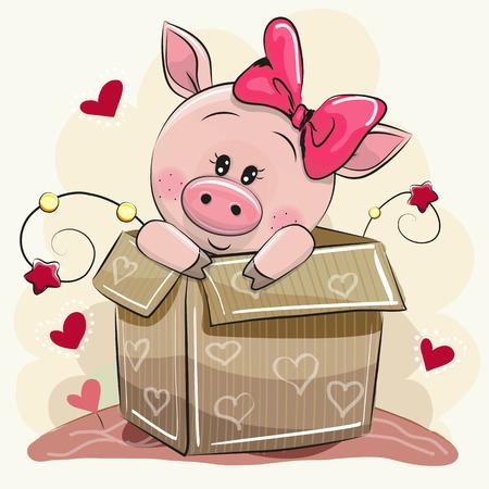 かわいい漫画ピギーの女の子とボックスと誕生日カード
