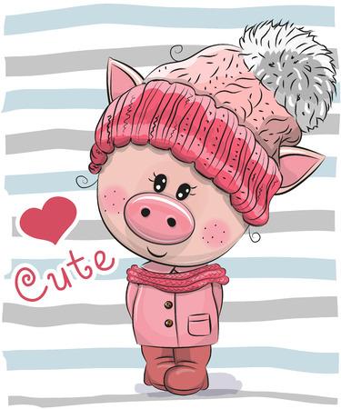 Cute Cartoon Piggy girl in a hat and coat
