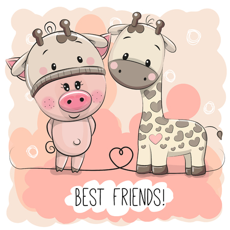 Cute Cartoon Piggy in a giraffe hat and giraffe