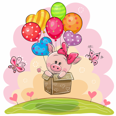 Cute Piggy girl in the box is flying on balloons Stock Illustratie