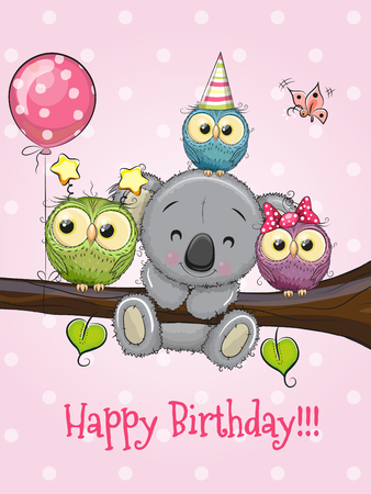 Three Cute Owls and Koala on a branch with balloon and bonnets Illustration