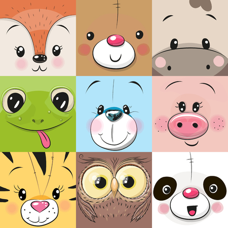 Set of Cute Cratoon square animals faces