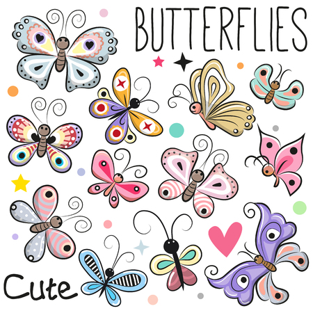 Set of cute cartoon butterflies isolated on a white background.