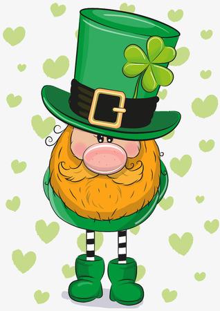 Cute Cartoon Leprechaun with clower leaf on a hearts background Foto de archivo - 96253980