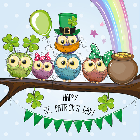 St Patricks greeting card with cute five owls