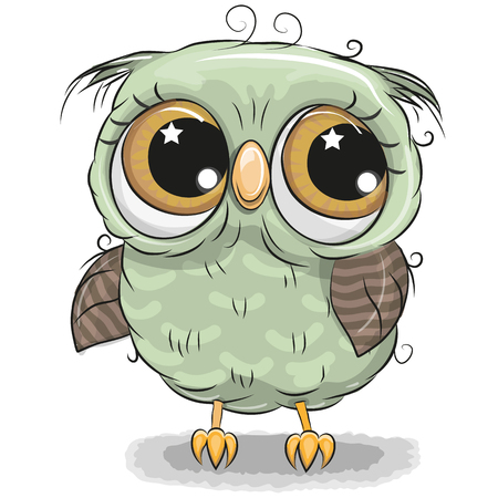 Cute cartoon green owl boy isolated on a white background Çizim