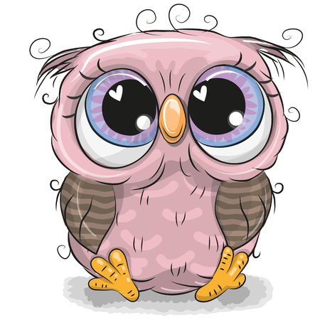 Cute cartoon pink owl girl isolated on a white background.
