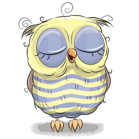 Cute cartoon yellow owl isolated on a white background Illustration