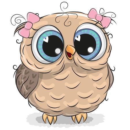Cute girl hibou de bande dessinée isolé sur un fond blanc Banque d'images - 96284109