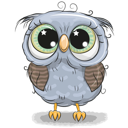 Cute cartoon blue owl boy isolated on a white background.