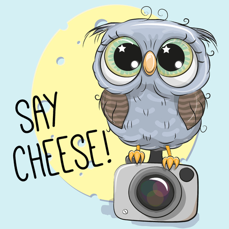 Cute cartoon Owl with a camera on a blue background