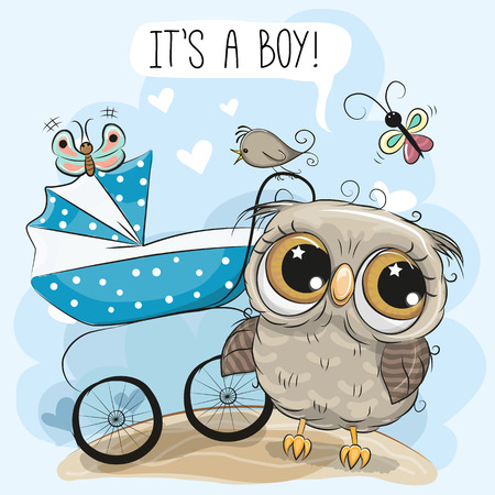 Animated owl stock photos royalty free animated owl images greeting card its a boy with baby carriage and cute owl voltagebd Images