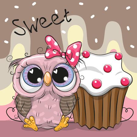 Greeting card Cute Cartoon Owl with cake Illustration
