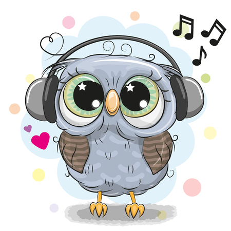 Cute cartoon Owl with big eyes with headphones