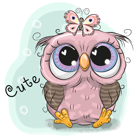 Cute Drawing Owl girl and butterfly on a blue background Ilustracja