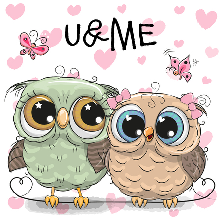 Two cute Cartoon Owls and butterflies on a hearts background Illustration