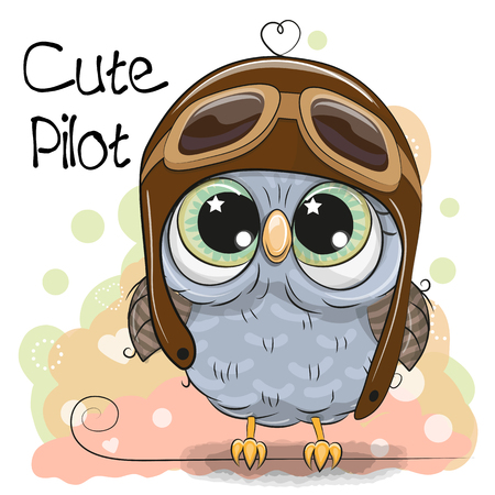 Cute cartoon Owl in a pilot hat Stok Fotoğraf - 96587992