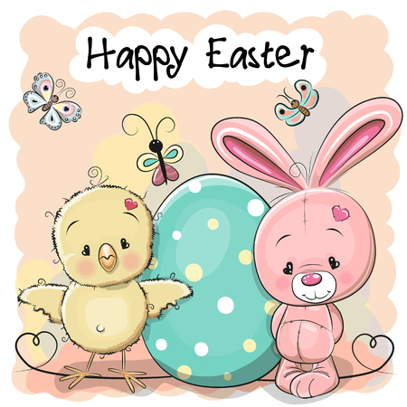 Greeting easter card Cute cartoon Rabbit and Chicken with egg