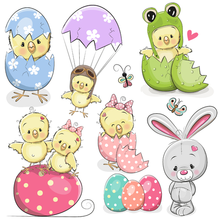 Easter set with cute Cartoon Chicken and rabbit