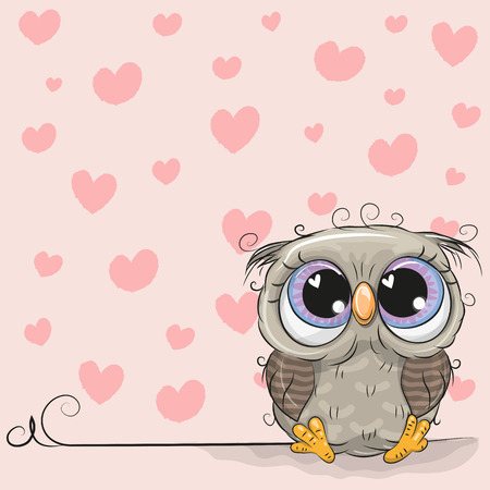 Cute Cartoon Owl on a background of hearts