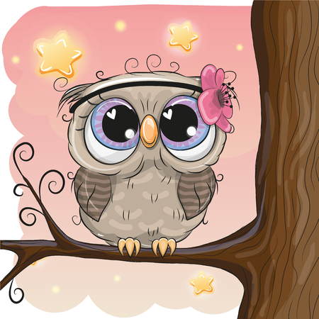 Cute Cartoon Owl with flower on a branch