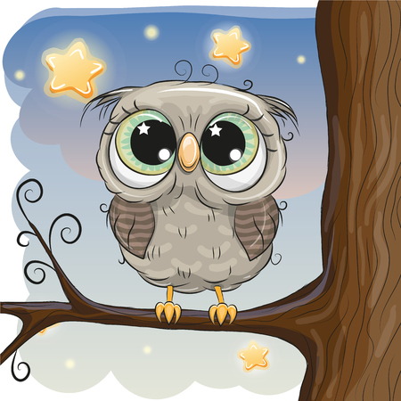 Cute Cartoon Owl on a branch of tree