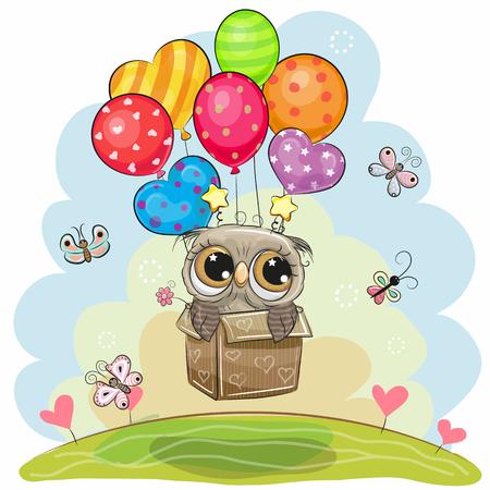 Leuke vliegende cartoonuil in de doos met ballonnen Stock Illustratie