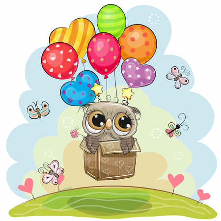 Cute flying cartoon Owl in the box with balloons