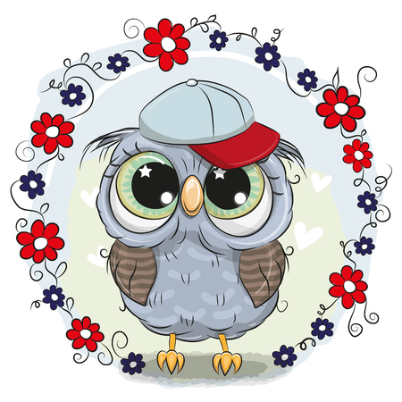 Greeting card with Cute Cartoon Owl with flowers Stock fotó - 96969445