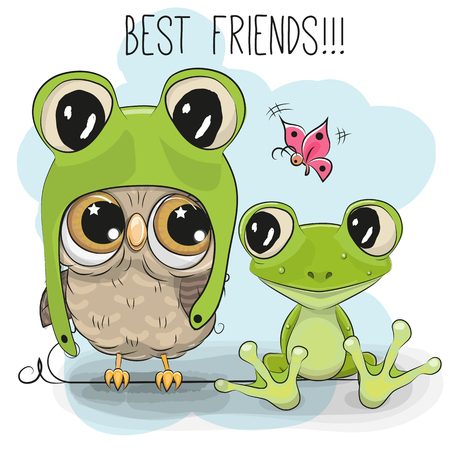 Cute Cartoon Owl in a frog hat and a frog Illustration