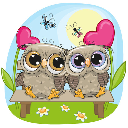 Valentine card with Cute Cartoon Owls on a bench