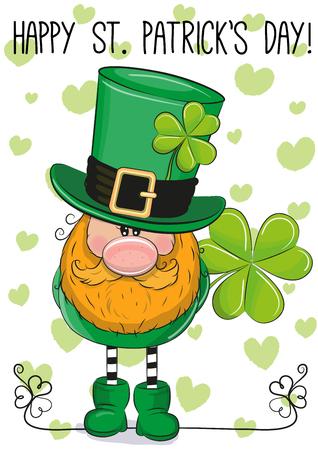 St Patricks greeting card with cute cartoon leprechaun
