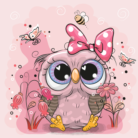 Cute Cartoon Owl with flowers and butterflies