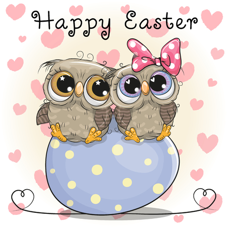 Two cute cartoon owls are sitting on an egg