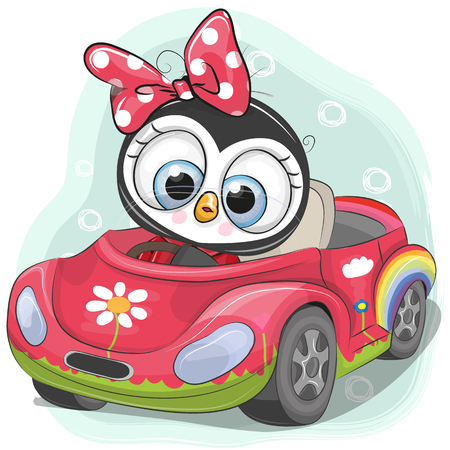 Cute Cartoon Penguin Girl goes on a pink car