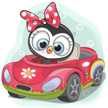 Linda chica de pingüino de dibujos animados va en un coche de color rosa Foto de archivo - 102077362