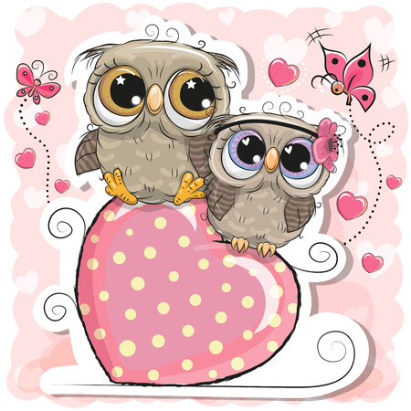 Two Cute Owls is sitting on a heart on a pink background
