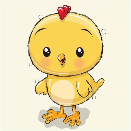 Сute Cartoon chick isolated on a white background