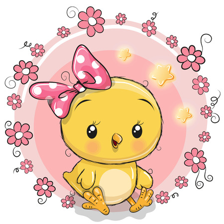 Cute Cartoon chicken girl with a bow in a flowers frame