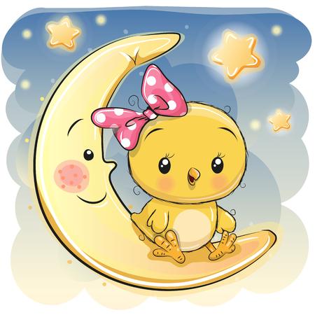 Cute Cartoon Chicken girl is sitting on the moon