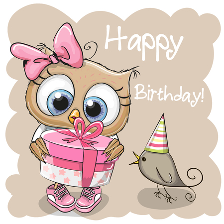 Greeting card cute Owl with gift and a bird on a beige background Illustration