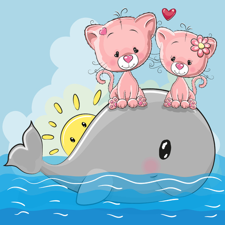 Two cute Cartoon Kittens are sitting on the whale Foto de archivo - 103588841