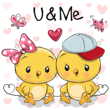 Two cute Cartoon Chickens with hearts vector