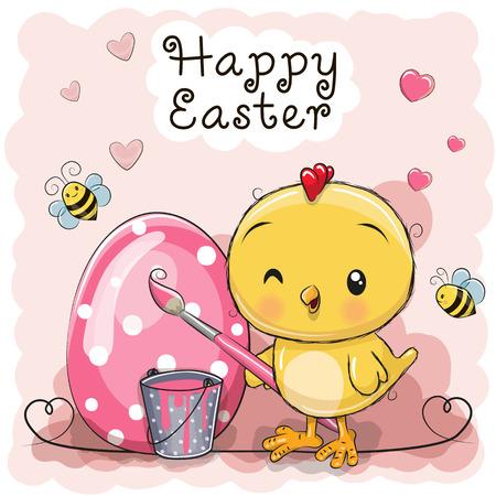 Cute cartoon Chicken painting an egg vector