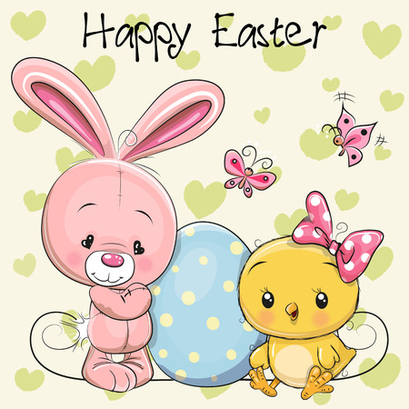 Greeting Easter card Cute cartoon Rabbit and Chicken with egg Çizim