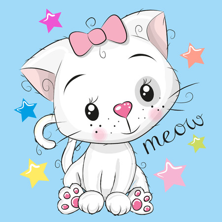 Cute Kitten and stars vector