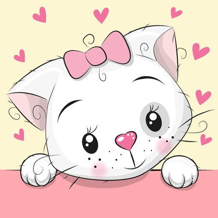 Cute Cartoon Kitten with hearts vector Illustration