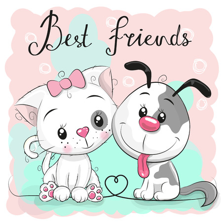 Cute cartoon cat and dog on a pink background. Illustration