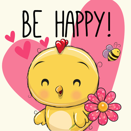 Be happy greeting card with cute cartoon chicken.