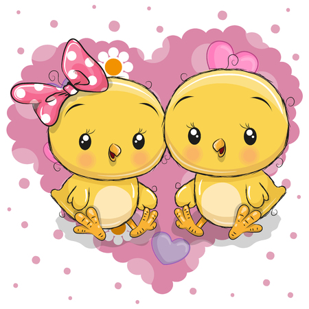 Two cute cartoon chickens on a background of heart.